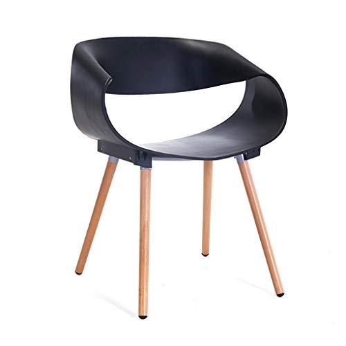 CKH - Mesa de negociación creativa minimalista moderna y silla de madera maciza de plástico silla taburete respaldo reposabrazos cenizas la silla negro
