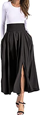 Alinfu Women High Waist Long Maxi Skirt A Line Front Split Swing Pleated Skirts With Pockets