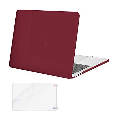 MOSISO MacBook Pro 13 inch Case 2020 2019 2018 2017 2016 Release A2289 A2251 A2159 A1989 A1706 A1708, Plastic Hard Shell Case Cover&Screen Protector Compatible with MacBook Pro 13 inch, Wine Red