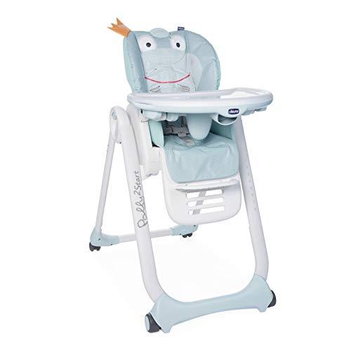 Chicco Polly2Start Trona y Hamaca para Bebés 0 Meses - 3 Años (15 kg), Trona Ajustable, Transformable y Compacta con 4 Ruedas, Respaldo Reclinable - Azul (Froggy)