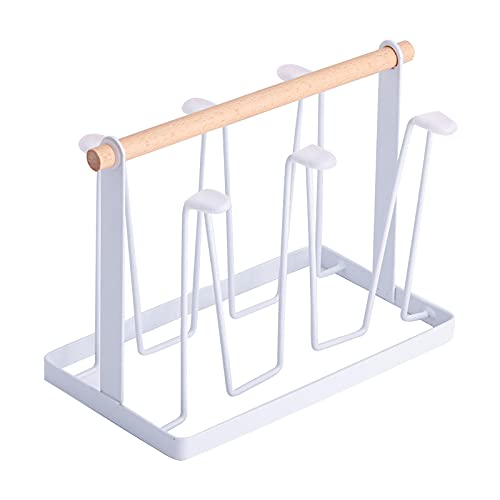 Hwtcjx organizador de tazas, cuelga tazas, 1 soporte de taza, Fabricado en hierro, pintado con spray antioxidante, con almohadilla de silicona, para cocina, sala de estar (13 x 23,5 x 18,5cm, blanco)