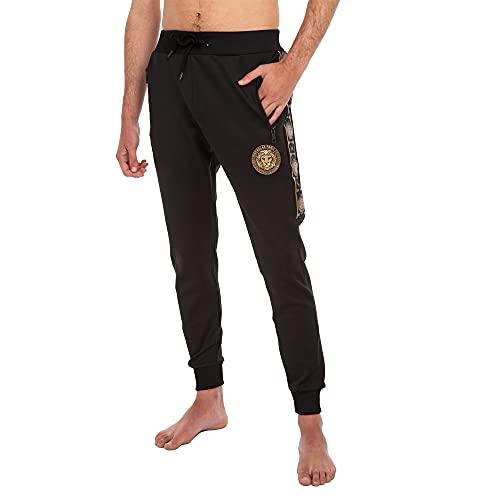 RAYPOW Pantalon Chandal Hombre · Jogger Hombre con Cintura y Tobillera Elásticas · Pantalon Deporte Hombre con Logo Leon · FF617 Negro · XL