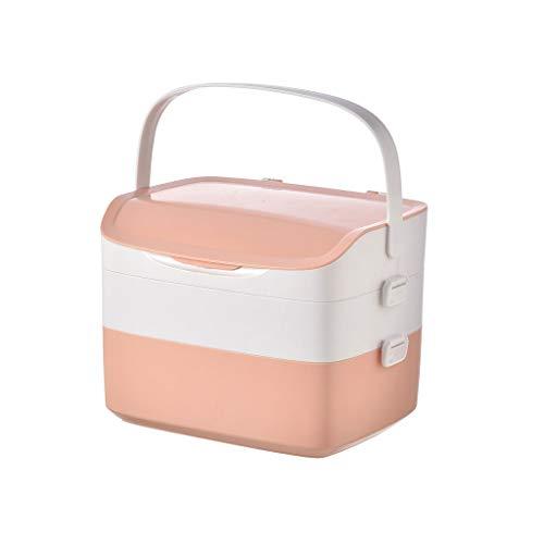 Botiquin Caja Multi-Capa de caja de la medicina, la medicina caja de almacenaje, Maleta, de gran capacidad, Kit de primeros auxilios bolsa de almacenamiento, 12.2 pulgadas, color de rosa Botiquin