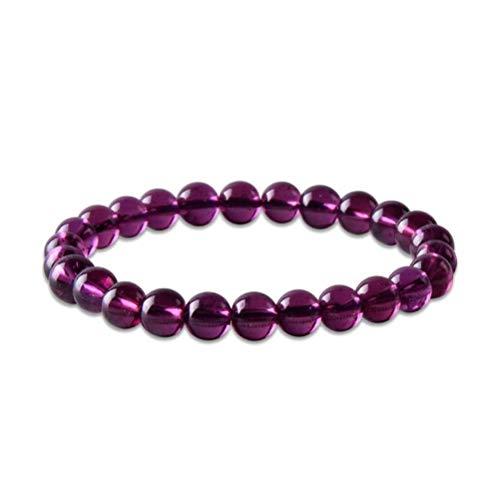 S&RL Pulsera Decorativa para Mujer, Pulsera de Granate Púrpura, un Solo Círculo, Pulsera de Cuentas Redondas de Granate de 6 Mm, Joyería de Amatista FemeninaPulsera