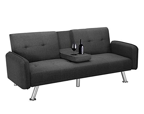 Futon Sofa Bed, Modern Convertible Couch Sleeper Sofa with Armrest and Metal Legs, Twin Size Folding Recliner Sofa Bed Home Furniture for Living Room with 2 Cup Holders Linen Fabric (Dark Grey)