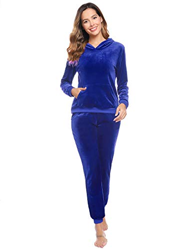 Abollria Damen Nicki Hausanzug Velours 2 Teilliger Fleece Anzüge Samtweich Winter Pyjama Set Hoodie Oberteil + Hose mit Tache,königblau,XXL