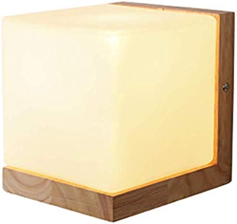 Oevina Mode Moderne Holz Wandleuchte, LED Glas Schatten Quadrat Mini Minimalistische Wandleuchte für Schlafzimmer Bar Café Shop Beleuchtung Wandleuchte E27 (Farbe   Gelb, gre   14x12cm)