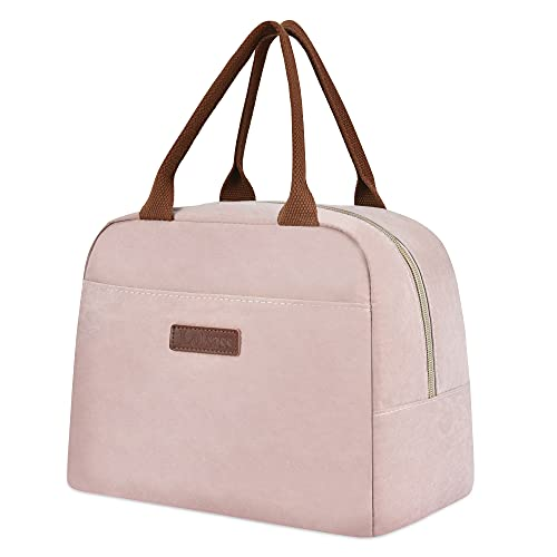 LOKASS Lunch Bags for Women Insulated Lunch Box Cooler Bag Thermal Lunch Tote for Ladies Girls Adults Office Work, Dark Pink