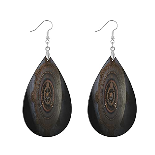 1 par de pendientes de madera con forma de gota de agua y hora de reloj de luna, pendientes de madera pintados para mujer, Teardrop, Madera Cobre Plata,