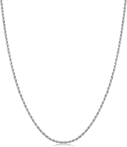 Savlano 925 Sterling Silver 1mm Solid Italian Rope Diamond Cut Twist Link Chain Necklace With Gift Box For Men & Women - Made in Italy (24, 1mm)