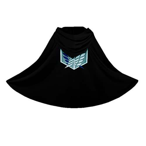 Attack on Titan Cape, Disfraz de Atentado De los Titanios, Cosplay Manga Carnaval Disfraz Cosplay Manga Vestido Elegante Capa Capa Vestido Elegante para Adolescentes Nios Adultos (negro, XL)