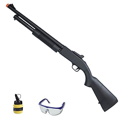 Escopeta ZM61A (Muelle) | Rifle de Airsoft Calibre 6mm (Bolas de plástico PVC 6mm) + biberón + Gafas de protección
