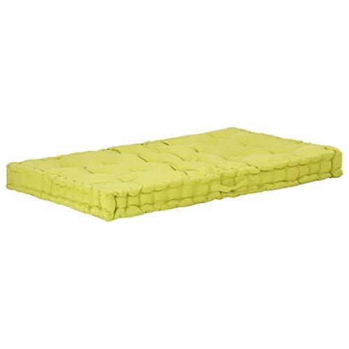 vidaXL Cuscino per Pallet e Pavimento in Cotone 120x80x10 cm Verde