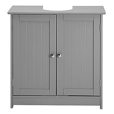 "Bonnlo Pedestal Under Sink Storage Bathroom Vanity with 2 Doors Traditional Bathroom Cabinet Space Saver Organizer 23 5/8"" x 11 7/16"" x 23 5/8"" (L x W x H) (Grey)"