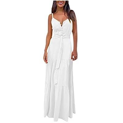Amazon - Save 50%: 2021 Summer Women's Sleeveless Maxi Dress V Neck Loose Sundress Waist Tie B…