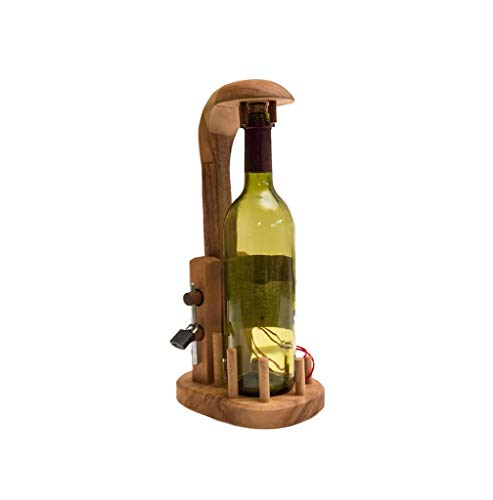 ROMBOL Bottle in a Jail - EIN knifflige Verpackung für Weinflaschen, Geduldspiel, Denkspiel, Knobelspiel aus Holz