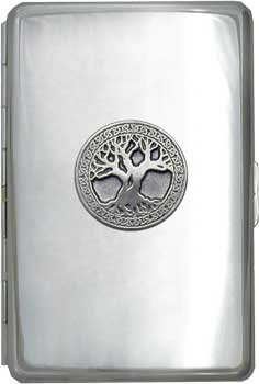 100mm 'Celtic Tree of Life' Cigarette Case / Stash Holder - Silver Mirror Finish