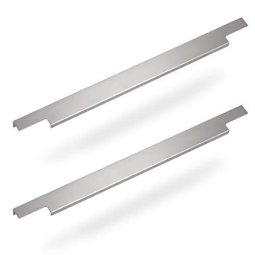 2 x Möbelgriff BLANKETT Slim 395 mm Alu Chrom matt Griffprofil (Wird an die Frontinnenseite verschraubt) von Sotech
