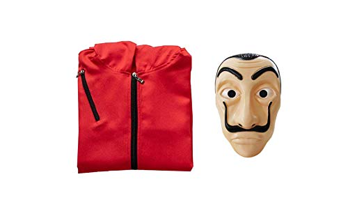 Multifunzionale di Carta Maschera Maschera di Halloween Costume con Cappuccio Tuta con Maschera La Casa De Papel Dali (XXL)