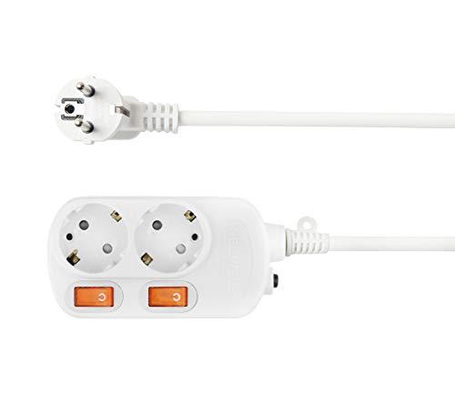 NEUVIELE 2 Fach Steckdosenleiste einzeln schaltbar, PC Feuerfest 1,5m Kabel Mehrfachsteckdose Steckerleiste [3300W 250V/16A] Wandmontage, weiß