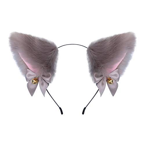 Pompn de pelo sinttico para gorros y gorros, pompn de pelo sinttico para tejer, sombreros, accesorios, pompn de pelo de invierno hecho a mano (orejas de gato)