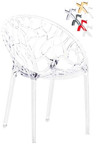 CLP Design-Gartenstuhl Crystal aus Kunststoff I Wetterbeständiger Stapelstuhl mit Einer maximalen Belastbarkeit von 160 kg I wählbar transparent
