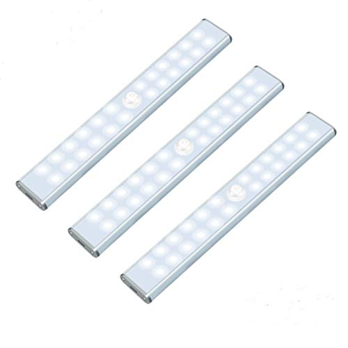 24 LED Closet Lights Under Cabinet Light,Rechargeable Motion Sensor Light Dimmable Wireless Light Bars Pantry Light with Stick Up Portable Magnetic(3 Packs)