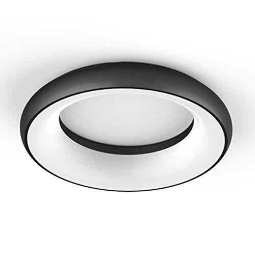ELG Leuchten LED Deckenleuchte Rund 35 Watt 2900lm 3000K Design Leuchte Anbauleuchte Modern Dekorativ Deckenlampe Wohnzimmer Schlafzimmer Flur Deckenbeleuchtung (Schwarz)