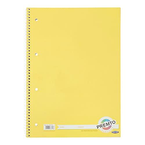 Premier Stationery Cuaderno en espiral Premto A4. 160 páginas perforadas, rayadas con margen. Perforado con 4 agujeros. Color Sunshine magnífico.