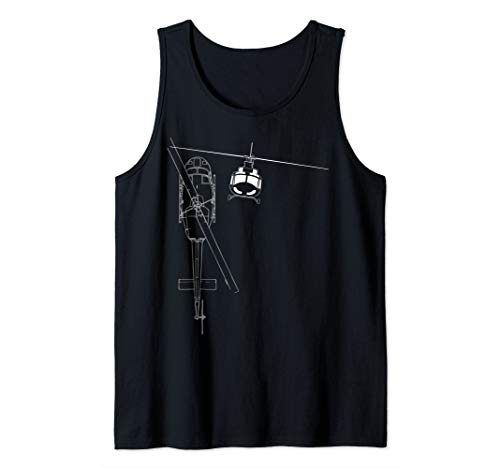 UH-1 Huey Helicopter Military Aircraft Line Art Tank Top