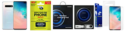 Straight Talk Samsung Galaxy S10 Plus SM-G975U - 128GB - Prism White (Unlocked) Bundle with Samsung Charging Pad & Installed Armor Suit Screen Protector Bundle …