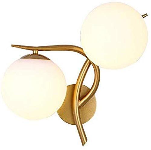 Europäische Minimalistische Kreative Wandleuchte Gold Doppelkopf Glaskugel Metallbett Schlafzimmer Studie Korridor Halterung Licht
