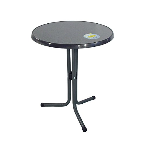 greemotion Table de jardin ronde bistrot – Table de balcon ronde Ø 60 cm – Petite table de jardin 2 personnes – Table extérieur métal couleur gris anthracite – table de jardin pour balcon