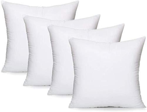 Aooba - Juego de 4 almohadas, relleno de almohada relleno, almohadas decorativas cuadradas para interiores, almohadas para cama y sofá, 45,45 x 45,8 cm (blanco)