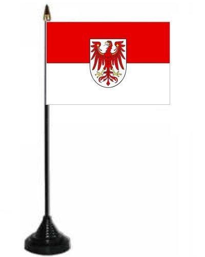 Brandenburger Schreibtisch/Tisch Flagge mit Ständer und Boden aus Kunststoff.