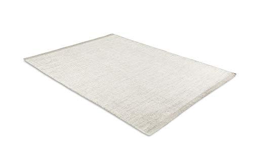 LIFA LIVING Handangefertigter Wollteppich im Vintagestil, 70% Wolle und 30% Baumwolle 140 x 200cm (Kamel/Weiß)