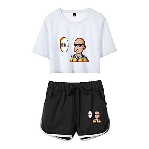 YZJYB Anime One Punch-Man Mujeres Crop Top Pantalones Cortos Set Impreso En 3D Saitama Camiseta Y Pantalone Cortos 2 Piezas Hipster Street Wear Funny Chándal Ropa Deportiva,Blanco,Large