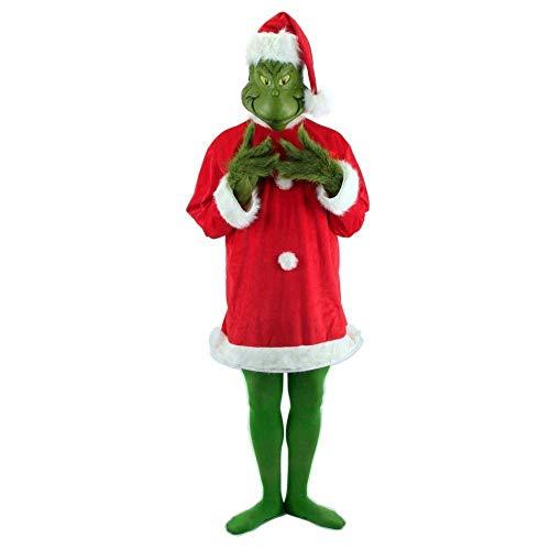 Dr. Seuss Santa Grinch & Mask Costume Adult Large X-Large