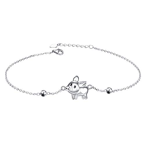 925 Sterling Silver Anklet for Women Pig Charm Adjustable Foot Ankle Bracelet Jewelry Birthday Gift (Pig)