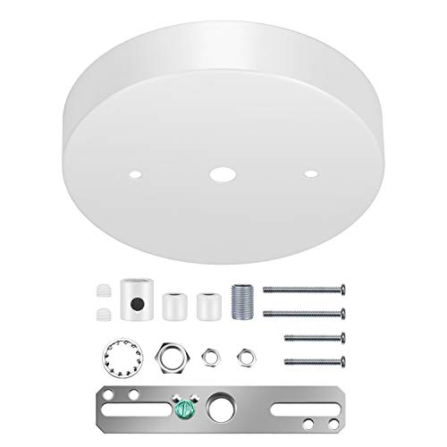 Canomo 5 1/8 Ceiling Lighting Modern Canopy Kit with Hardware - Includes Loop, Cross Bar and Mounting Screws (White)