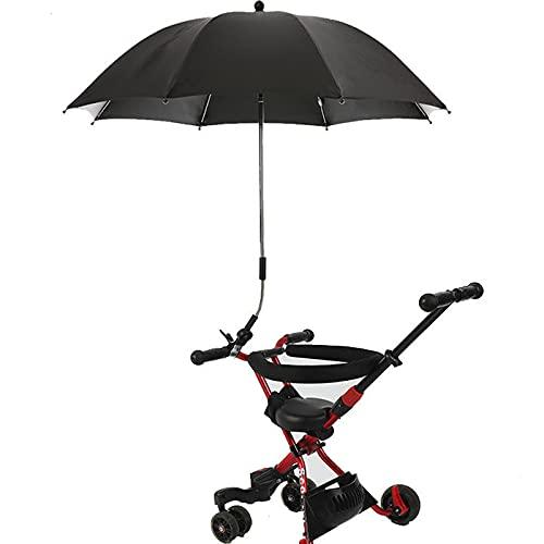 GYAM PRAM Parasol, Paraguas para Cochecito, sombrilla Universal UV para sillas y Buggy, Paraguas de Cochecito con Clip de fijación Ajustable (Radio 85 cm),Negro