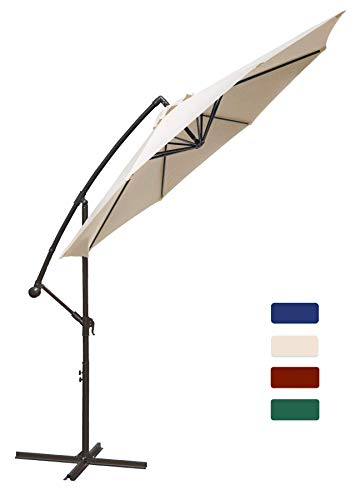 HASLE OUTFITTERS Offset Patio Umbrella 10FT Cantilever Umbrella Outdoor Market Umbrella Hanging Umbrella with Cross Base Beige