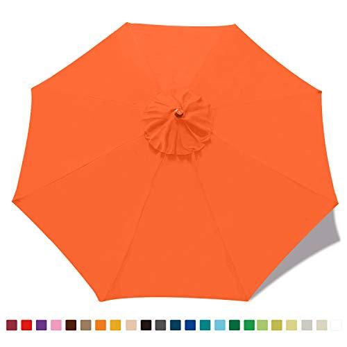 ABCCANOPY 2.7M Sonnenschirm Ersatzdach Patioschirm Marketschirm Ersatz Baldachin mit 8 Rippen,Orange