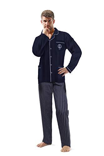 e.VIP Herren Zweiteiliger Pyjama Jim 765 Schlafanzug Lang Knopfleiste Baumwolle Marineblau- XXL