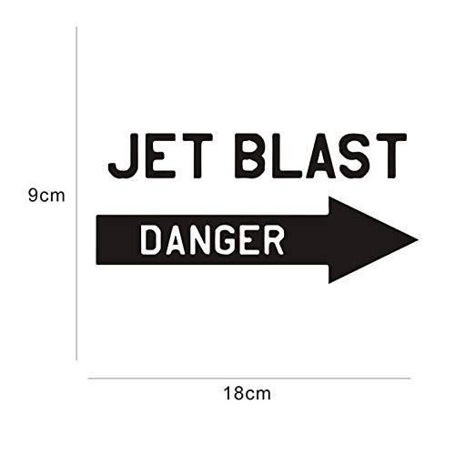 JYIP Car Stickers 18CM * 9CM Styling JDM Text Danger Jet Car Motorcycles Decoration 3D Reflective Danger Sign Car Styling 2Pcs Blue