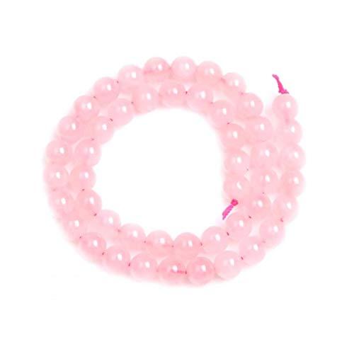 NaisiCore Hermosa Cadena Perlas de Cristal de Cuarzo Rosa Flojo de los Granos Redondos para la joyería de DIY Que Hace el Conjunto de Joyas Hombres Mujeres Pulsera Strand 8mm Rosa 1pc