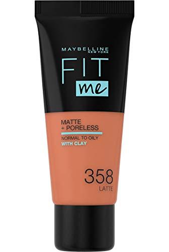 Maybelline New-York - Fond de teint Fluide Fit Me Matte & Poreless - Peaux normales à grasses - Teinte : 358 Café au Lait - 30 ml