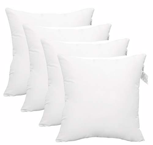 ACCENTHOME 4 Packs Throw Pillow Inserts Hypoallergenic Square Form Sham Stuffer 45 x 45 cm