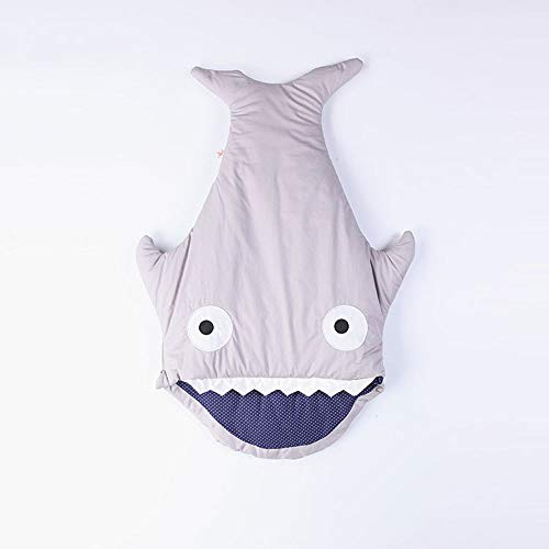 Muzboo Baby Jungen Mädchen Hai-Schlafsack für Neugeborene, Anti-Kick-Decke, für 0-12 Jahre alte Kinder, Baumwolle, grau, M