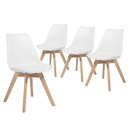Homybec Juego de 4 sillas de Comedor con Patas de Madera Maciza, Silla tapizada para Cocina y salón, Silla DSW de Estilo escandinavo, Color Blanco, 45 x 45 x 84 cm